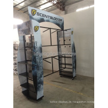 Outdoor-Produkt-Merchandising-Display 6-Rad-Metall-Kleidungsstück Rack Custom 4-Way Jagd Kleidung Gondel