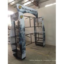 Exhibición al aire libre del producto Exhibición 6-Rueda Metal Garment Rack Custom 4-Way Caza Ropa Góndola