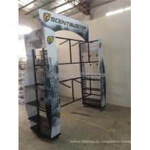 Exposição de merchandising de produtos ao ar livre 6-Wheel Metal Garment Rack Custom 4-Way Hunting Clothing Gondola