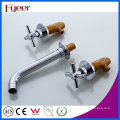 Wall Mounted Brass Basin Mixer Taps with Double Cross Handle