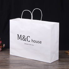 Fast Delivery for Kraft Paper Shopping Bags Strong Black Logo Print White Kraft Paper Bag supply to South Korea Importers