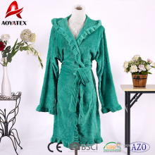 New arrive hooded embossed ruffles flannel fleece women bathrobe