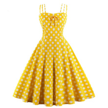 Винтажные летние платья для вечеринок с принтом в горошек из хлопка