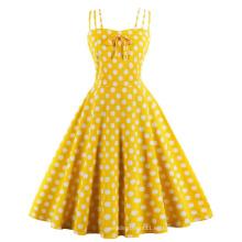 Vestidos de fiesta con estampado de lunares de verano vintage Algodón