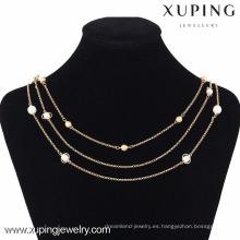 42813 Collar de cadena de joyería artificial de perlas de oro de 18k al por mayor