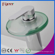 Fyeer Single Handle Round Glass Spout Bathroom Waterfall Basin Faucet