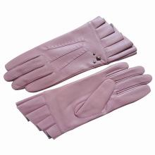 Lady Fashion Schaffell Leder Ruffle Cuff Fahren Handschuhe (YKY5072)