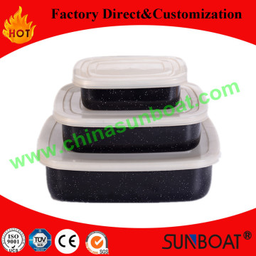 Rectangular Type Carbon Steel Enamel Food Container