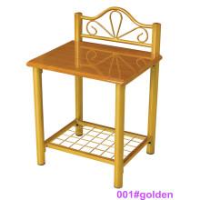 Mesa de noche de madera moderna de la tabla de cabecera de la madera y del metal (001 # de oro)