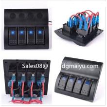 Panel de interruptor impermeable del eje de balancín impermeable con luz azul Interruptor combinado del coche de 4 pandillas
