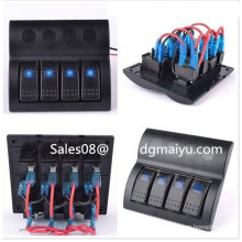 Marine Waterproof Rocker Switch Panel with Blue Light 4 Gang Combined Car Switc