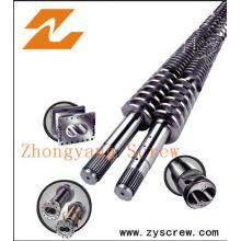 Baril de vis jumelée conique pour la feuille de tuyau de PVC