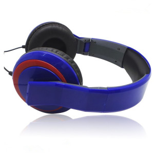 Blue foldable soft earphone over heard 3.5mm