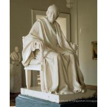 Sculpture de sculpture en marbre de voltaire assis par sculpture houdon