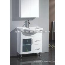 Австралийский пол Теплая белая глянцевая MDF / HMR Ванная тщеславие / шкаф свободный стоячий мороз стеклянная дверь тщеславие