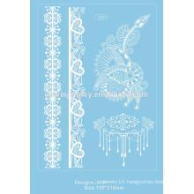New White Lace Design Temporary Tattoo Waterproof Transferable Fake Flash Tatoo Sticker Body Art Women Jewelry j001