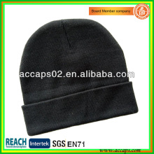 Black fold up beanie hats blank no logo BN-2646