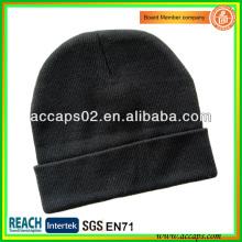 Black fold up beanie hats em branco no logo BN-2646