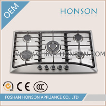 220V-240V Built in Type 201 Stainless Steel Five Burner Gas Hob
