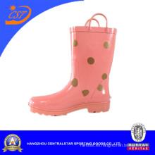 Botas de lluvia de color rosa para niñas con puntos Kr027