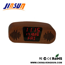 Wooden LED Clock With Bluetooth Speaker