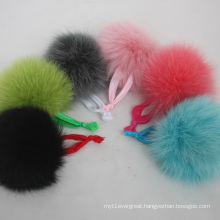 Latest Designs Round Ball Fox Fur Elastic Hair Rope Hair Band For Girls