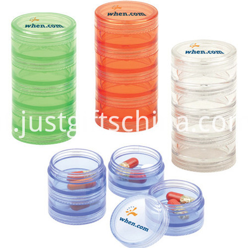 Custom Logo 7 Days Round Shape Pill Box