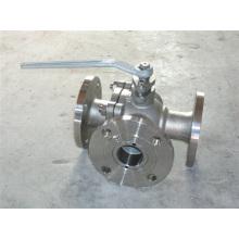 Ss304 / 316 Válvula de esfera de três vias Flange 3 peça