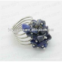 Natural sodalite anéis ajustável chip sodalite gemstone tecido anéis de amizade para mulheres & Girl