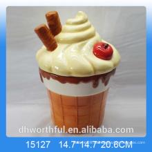 Jarra de almacenamiento de cerámica de regalo con helado