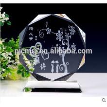 Bloco de vidro de cristal 2015 em branco com os presentes & as lembranças do logotipo da gravura do laser 3D