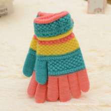 Fashion Kids Cheap Promotional Knitted Winter Striped Gloves