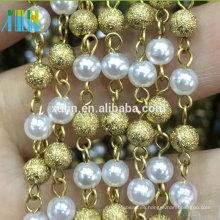 XULIN nuevo diseño de color oro perla alambre de metal rosario cadena