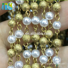 XULIN New Design Gold Color Pearl Metal Wire Rosary Beads Chain
