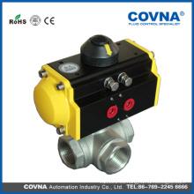 Actuador neumático 3pcs 3way T-tipo cf8m válvula de bola para la fábrica de la bebida