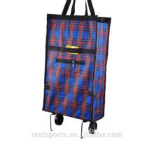 Trole de pouco peso do saco de compras com o saco prático do trole da compra da venda quente das rodas