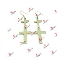 Jewelry Factory Simple Silver Cross Earrings for Girls (SCE51031)
