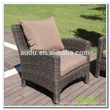 Audu Wicker Chair,Resin Wicker Garden Chair With Back Cushion