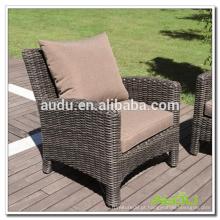 Audu Wicker Chair, cadeira de jardim de resina de vime com almofada traseira