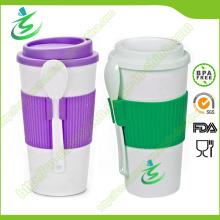 16 Unzen BPA-Free Werbe-Kaffeetasse mit Deckel und Löffel