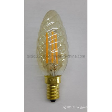 Ampoule de filament de 3.5W LED de couleur or C35 torsadée