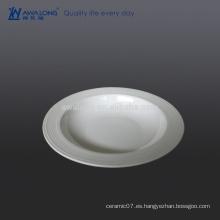 Placa de la sopa de cerámica de la venta caliente 9, placa de cerámica barata para la sopa y la ensalada