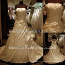 Q-6250 Robe de mariée en taffetas Appliques Gaine Robe de mariée