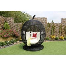 Strange Design Rattan Apple Shape Sunbed pour jardin extérieur