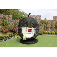 Strange Design Rattan Apple Shape Sunbed For Outdoor Garden