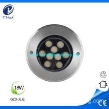18W impermeable 304 superficie inoxidable led luz subterránea