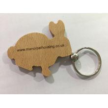 Porte-clés en bois adapté aux besoins du client de promotion avec le logo de laser