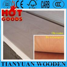 1220 * 2440mm, 6/10 / 12mm Okoume / madeira compensada comercial de Bintangor, madeira compensada da mobília