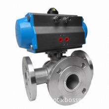 Pneumatic 3-way ball valve, L or T type port