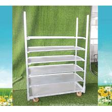 Metal Rolling Flower Shelf Cart Plant Trolley